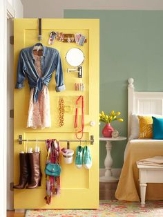 In space-challenged bedrooms, every square inch counts. Closet storage ideas, for example, can provide a few precious inches that can be put to everyday use for wardrobe planning. Install one pole and one over-the-door hook to the backside of the door to plan out outfits for a day or two. Oft-worn accessories or other dressing items can also be put in easy reach, thanks to narrow hooks and plastic holders.