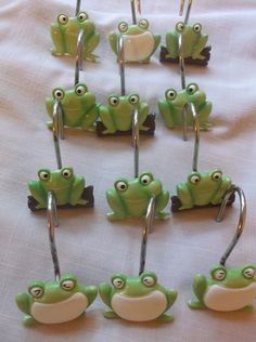 Shower Curtain Hooks Frog 3 Designs Set of 12 Ceramic  #Unbranded