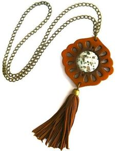 Genuine Leather Boho Tassel Necklace Brown Vegetable Dyed Flower Child Cutout Medallion With Kiwi Stone Center And Antiqued Brass…
