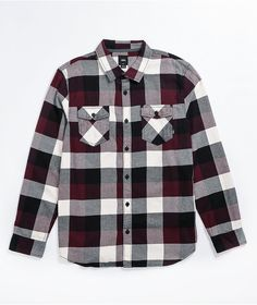 Keep it casual with the Box port royale, white, and black flannel shirt from Vans. This shirt comes in a burgundy, white, and black plaid colorway, with matching pockets at the chest and cuffs that button so you can roll up your sleeves or keep them down when it's cooler out. Black Flannel Shirt, Black Plaid, Flannels, Cuffs, Burgundy, Vans, Men Casual, Pockets, Button
