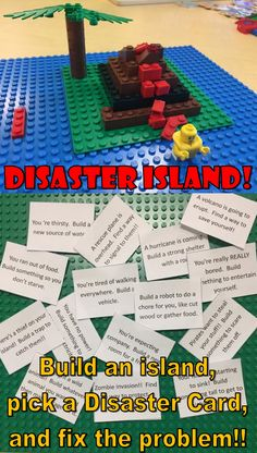 Lego Challenge–Disaster Island – The Lego Librarian - Kinderspiele Stem Activities, Summer Activities, Learning Activities, Kids Learning, Learning Styles, After School Club Activities, Earth Science Activities, Communication Activities, Summer Games