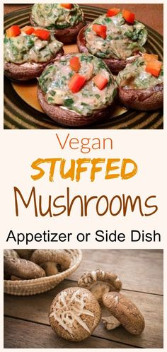 These Spinach Stuffed Mushrooms are very easy to make. We use them as a side dish to meals. They are also great as appetizers and party-pleasers. Vegan Finger Foods, Healthy Vegan Snacks, Delicious Vegan Recipes, Vegetarian Recipes, Vegan Foods, Vegan Lunches, Healthy Sides, Healthy Recipes, Mushroom Appetizers