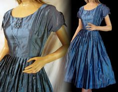 Vintage 50s Party Dress Blue With by susiesboutiquecloths on Etsy, $149.99