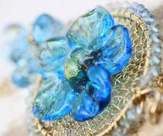 Jewelry - Blue Topaz Necklace Glass Lampwork Flower Gold by JewelsByLDesigns, $329.00