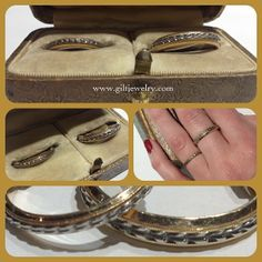 The sweetest pair of matched c1940 14k engraved bands. $345, $595. Gilt Vintage.  Love the ladies band.