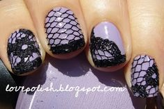 lace nails= sweet! paint base color. Stick on lace, apply top coat, cut lace to fit nail once the top coat dries, apply another coat of top coat :) easy!