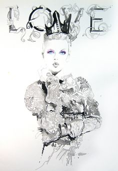 Målning Print av akvarell Fashion Illustration. Betitlat: LoveInk