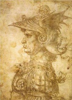 Profile of a warrior in helmet - Leonardo da Vinci