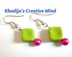 In this tutorial Khadija from Creative Mind shows how to make a simple, yet colorful neon pair of earrings using homemade clay and pearl glass beads. Khadija also shares in the post her recipe f… Polymer Clay Ornaments, Polymer Clay Earrings, Bead Earrings, Bead Making Tutorials, Making Ideas, Jewelry Crafts, Handmade Jewelry, Jewellery Diy, Beaded Jewelry