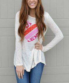 Look at this Bella Mikol Designs Cream Burnout Patchwork-Heart Crewneck Tunic on #zulily today!