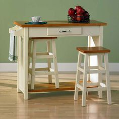 Set includes an island and two stoolsIsland utilizes a storage drawer, a towel rack and enough room underneath to store the two included stoolsPerfect table for small spaces