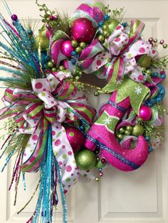 Candyland Pink Blue Christmas Wreath Mesh Wreath by WilliamsFloral