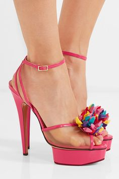 Charlotte Olympia + Barbie Pomeline patent-leather and mesh sandals only £925 :O
