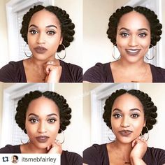 Feminine Centre-Parted Braided Updo hair updo 60 Easy and Showy Protective Hairstyles for Natural Hair Blow Dry Natural Hair, Natural Hair Twists, Natural Hair Updo, Natural Hair Growth, Natural Hair Styles, Natural Beauty, Cabello Afro Natural, Pelo Natural, Protective Hairstyles For Natural Hair