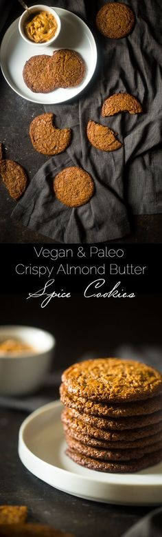Vegan and Paleo Almond Butter Spice Cookies - You'll never know these spicy-sweet, crispy on the outside and chewy on the inside paleo cookies are secretly healthy and vegan friendly! | Foodfaithfitness.com | @FoodFaithFit