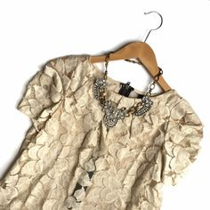 Anthropologie Wish Cream Tan Lace Blouse Sz M ❌NO TRADES❌  - Anthropologie Wish Cream Tan Lace Blouse Sz M  - Beautiful Light Tan Cream Leaf Lace w/ Exposed Back Zipper  - 85% Cotton, 15% Nylon; unlined.  - Great used condition. Anthropologie Tops Blouses