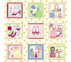 M962 - Tecido para Patchwork  - All about Girls - Painel KG07-E89