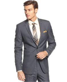 Andrew Fezza Suit, Blue Birdseye Slim Fit - Suits & Suit Separates - #Macy's $100-$150
