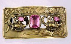 ART Nouveau Antique Belt Buckle With Pink Stones | eBay