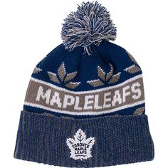 Toronto Maple Leafs Old Time Hockey Men's Saxon Cuffed Scripted Pom Toque - shop.realsports