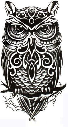 black white large Owl pattern Totem arm back waterproof temporary tattoo sticker