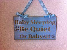 Funny Wooden Baby Sleeping Sign Laser by DistastefulDesigns, $10.00
