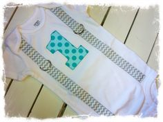 Boys 1st Birthday Onesie with Two Tone Aqua by BetterThanBows, $19.95