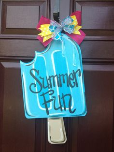 Summer Door Hanger/Popsicle Door Hanger/Ice Cream Door Hanger/The Gilded Polka Dot Wooden Door Signs, Wooden Doors, Summer Diy, Summer Crafts, Wooden Crafts, Diy Crafts, Burlap Door Hangers, Wooden Hangers, Wooden Cutouts