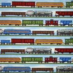 Timeless Treasures Railroad Locomotive Train Stripe Blue, 44-inch (112cm) Wide Cotton Fabric Yardage GAIL-C9169-BLUE - Emerald City Fabrics