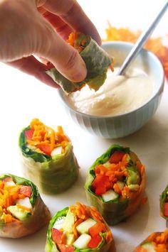 These garden vegetable salad rolls are the perfect gluten-free alternative to the traditional lunch wrap #vegetarian #vegan #superbowl #veganrecipes #dairyfree #glutenfree #healthyappetizers #healthyrecipe #detox #cleanse #healthyfood #grainfree Vegetable Salad, Vegetable Recipes, Vegetarian Recipes, Healthy Recipes, Korean Recipes, Quick Recipes, Salad Recipes, Healthy Appetizers, Healthy Snacks