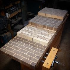 """""""What I've been making for the last month. 10 end grain brick wall cutting boards. Still have to round edges and final sand. #woodwork #cuttingboard…"""""""