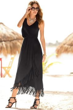Boston Proper Fringe hi-lo faux-wrap maxi dress. Nice maxi dress.. not sure about the fringe? #bostonproper