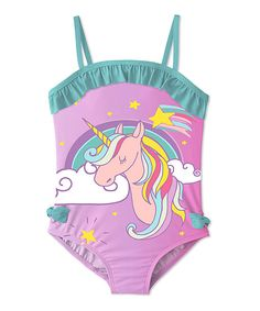 d5c509eeaa2 Keep her looking sweet in the sun with this swimsuit that boasts a fun  graphic and ruffles.