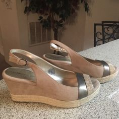 Anne Klein Tan Suede Daphnis Wedge Size 9M These tan suede wedges were worn once and they are like new. Anne Klein Shoes Wedges