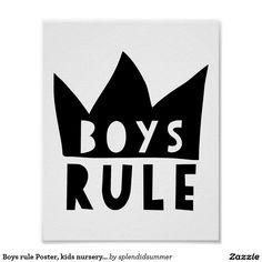 Boys rule Print Nursery, Black White Nursery, monochromatic, monochrome art, skandinavian art