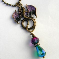 Dragon Necklace Dragon Jewelry Dragon Pendant Once by Msemrick
