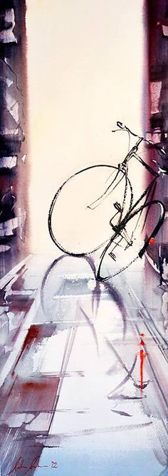 Another masterpiece by the water colour artist, Anders Andersson.  Thanks to Nataliya for sharing this pin. MAKETRAX.net - Bicycle ART
