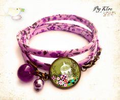 Bracelet ruban Liberty Cabochon • Cage à Oiseaux fleurie • Bykloé
