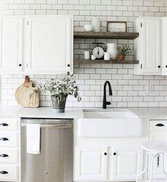 Stainless steel + white kitchen