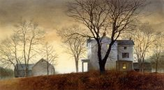 RAY HENDERSHOT The world's most complete online website for limited edition prints and Giclee canvas. Watercolor Barns, Watercolor Landscape, Landscape Art, Landscape Paintings, Watercolor Paintings, Watercolors, House Landscape, Moonlight Painting, Farm Art