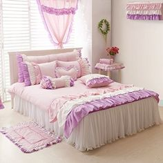 YOYOMALL Princess Floral Bedding Set Lace Ruffle Duvet Cover Set Beautiful Princess Purple Pink Bedding Sets 100% Worsted Twill Cotton Lace Yarn Twin Queen King,4Pcs (Queen)
