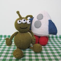 "Alien adventure toys knitting patterns that I fondly call ""Pickles"".  This 3-eyed guy makes me laugh.  Hee!"