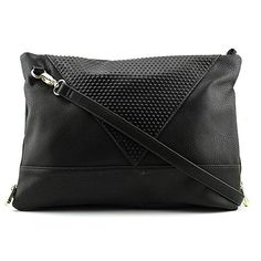 POVERTY FLATS by rian Raised Dot V Cross Body Bag Black One Size * To view further for this item, visit the image link.