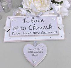 HANDMADE PERSONALISED WEDDING / ANNIVERSARY PLAQUE SHABBY CHIC GIFT