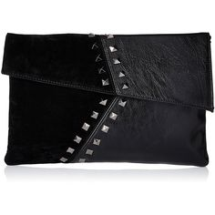 JNB ebp2131 Tone Studs Envelope Clutch, Black ($45) ❤ liked on Polyvore featuring bags, handbags, clutches, studded purse, studded handbags, envelope clutch bags, studded envelope clutch and envelope clutch