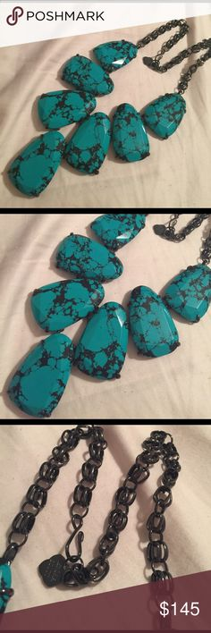 Teal magnesite and gunmetal Harlow Only worn 2-3 times. EUC Does NOT come with dust bag, please no low balls Kendra Scott Jewelry Necklaces