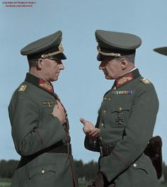 Operations Chief of the Supreme Command of the Wehrmacht (OKW) Artillery General Alfred Jodl (left), talks with the German representative at the General Staff of the Finnish Army Corps Gen. Waldemar Erfurth