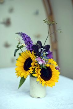 Sunflowers and buddleia wedding flowers – photography http://www.mark-tattersall.co.uk/