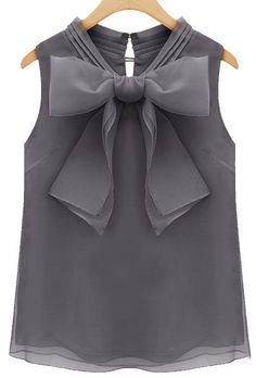 Grey Sleeveless Bow Organza Blouse//