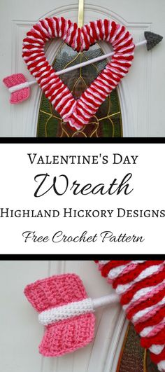 Free crochet pattern for Heart-shaped wreath. This wreath can be used for a Valentine's decoration, anniversary, engagement photo prop or child's room.